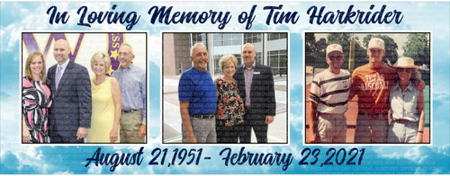 Horizontal Banner - In Loving Memory 3 Photos with Cloud Background