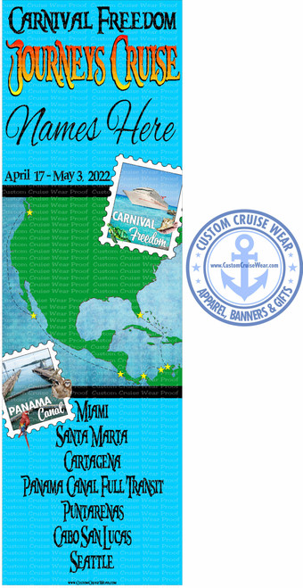 Freedom April 17 2022 Panama Canal Full Transit Journeys Cruise Map BANNER
