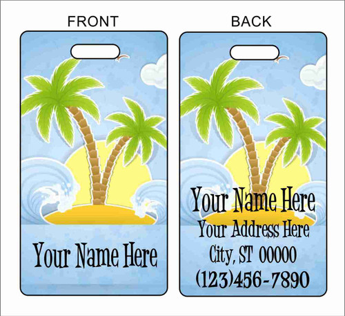 Luggage Tag Palm Tree