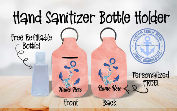 Hand Sanitizer Bottle Holder - Anchor Watercolor