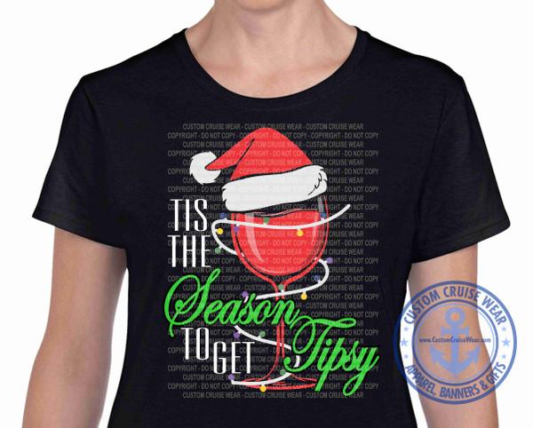 Christmas Santa Glass Tis the Season to get Tipsy