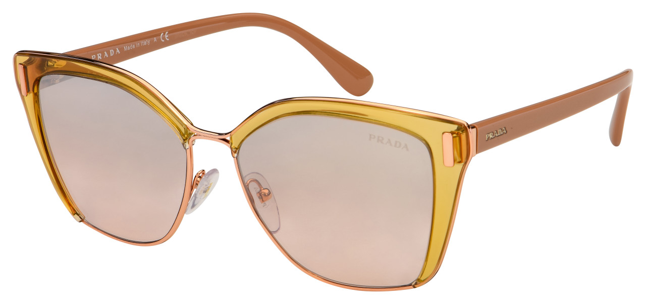 Prada Sunglasses PR 56TS MQH204 57 Transparent Rose Frame | Brown Gradient Lens