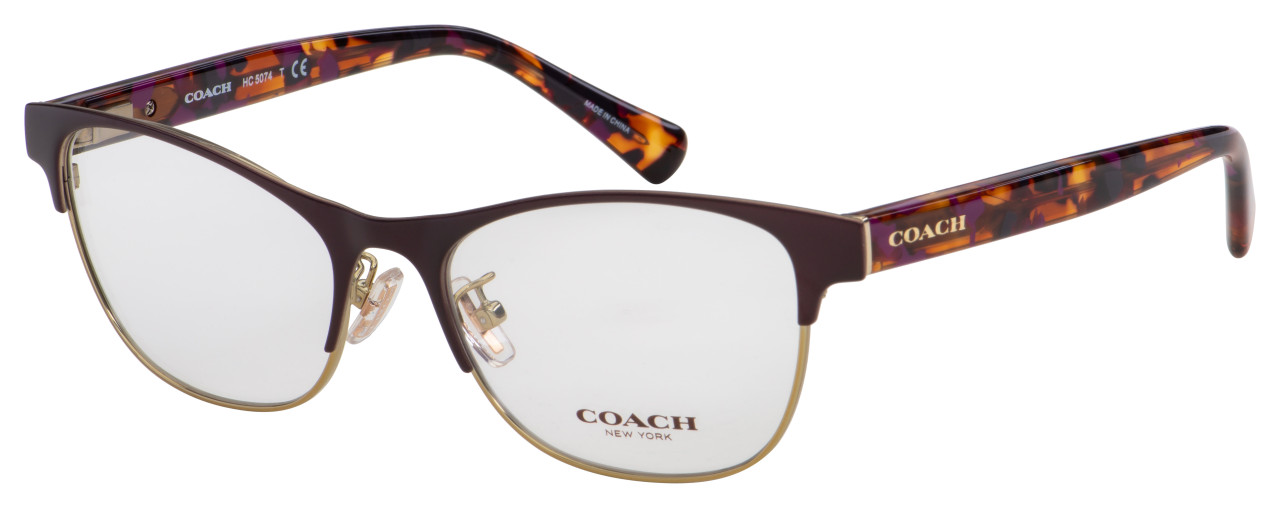 Coach Eyeglasses HC 5074 9241 54 Satin Purple Gold/Purple Confetti Frame [54-17-135]