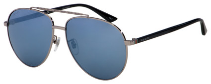 Gucci Sunglasses GG0043SA 001 Ruthenium/Black | Silver Mirror Lens