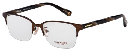 Coach Evie Eyeglasses HC 5047 9163 50 Satin Brown/Dark Brown Horn Frame [50-17-135]