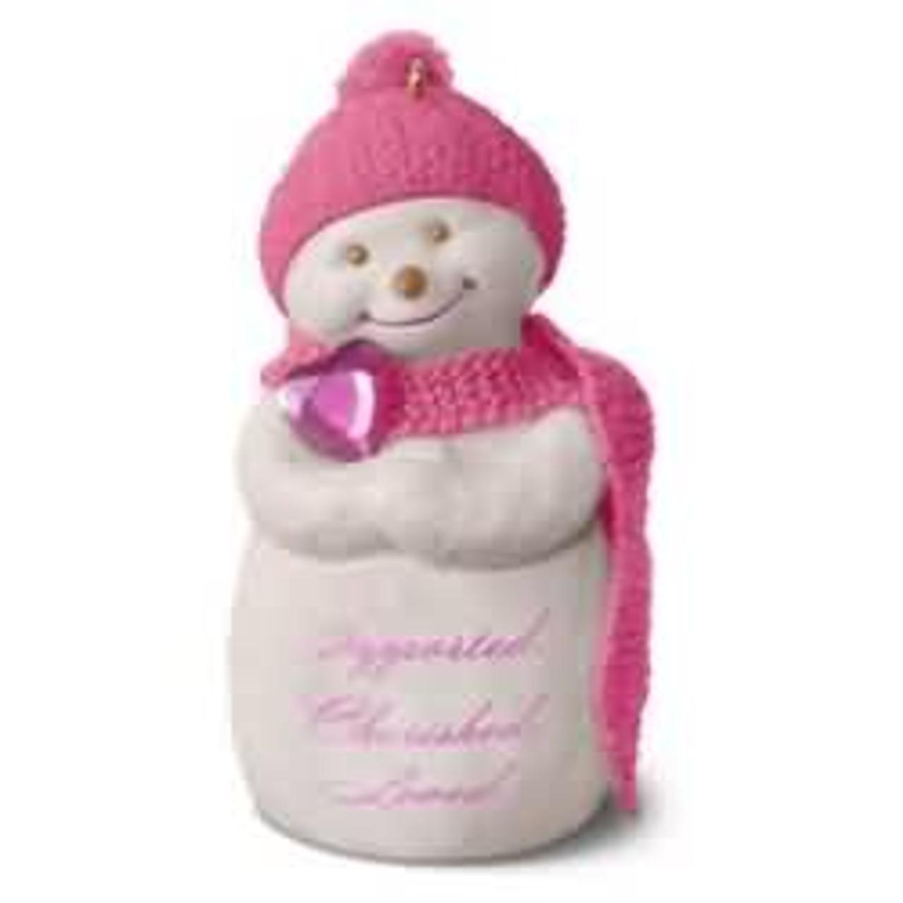 WRAPPED IN LOVE HALLMARK ORNAMENT 2016 NEW SUSAN G KOMEN SNOW LADY PORCELAIN