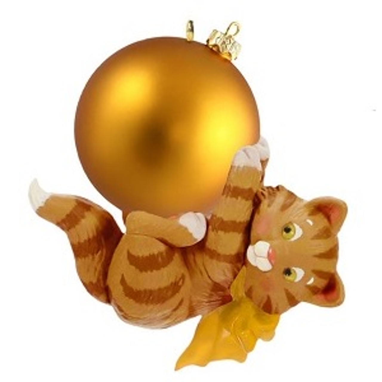 2019 Hallmark Mischievous Kitten Surprise Gold Variant Ornament
