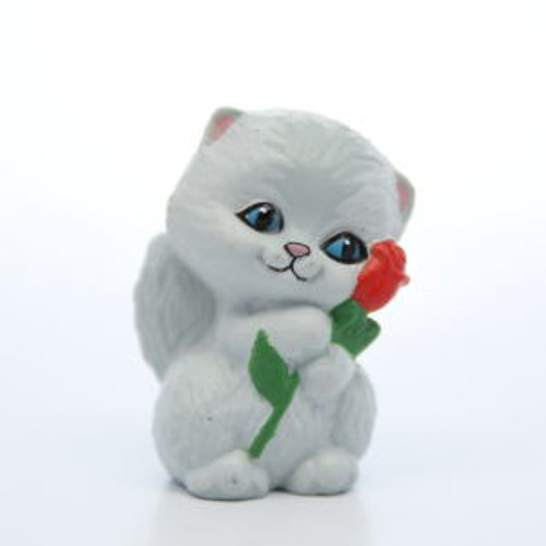 1990 Grey Kitten With Rose