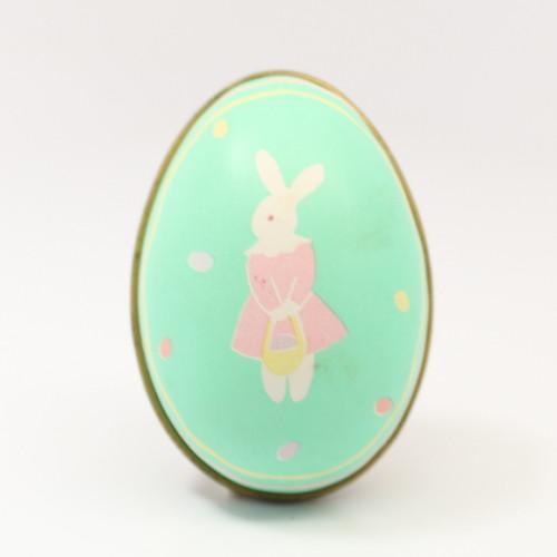 1988 Tin Egg - Bunny - Aqua