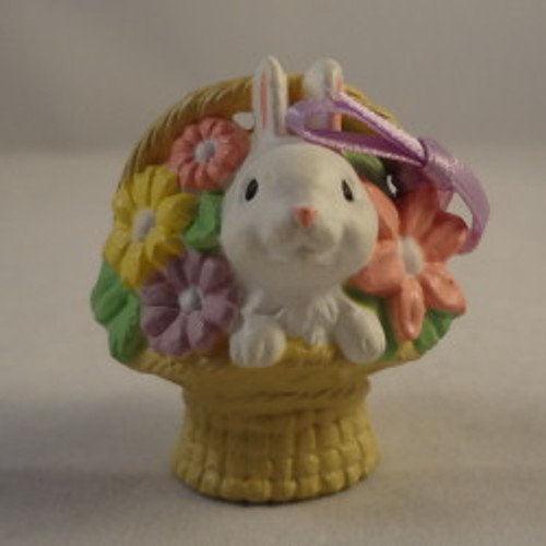 1985 White Bunny In Basket