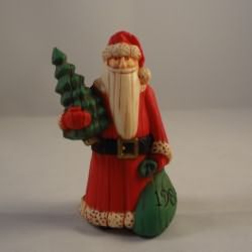 1986 Folk Art Santa With Tree
