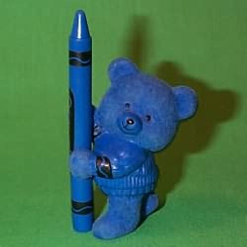 1987 Flocked Crayola Bear - Blue