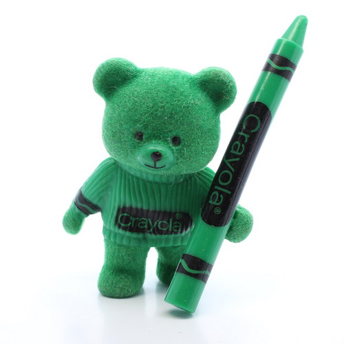 1987 Flocked Crayola Bear - Green