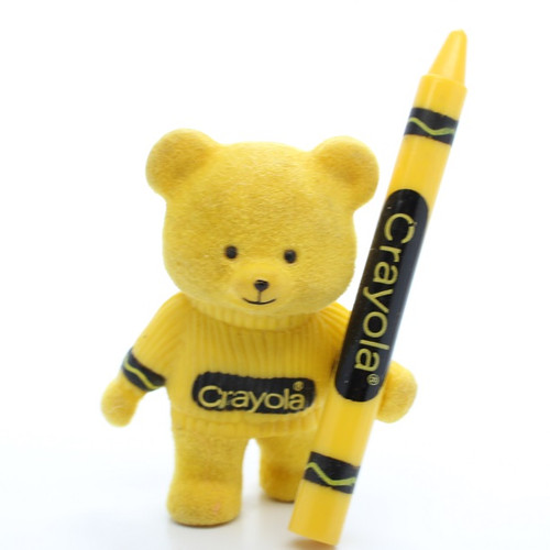 1987 Flocked Crayola Bear - Yellow