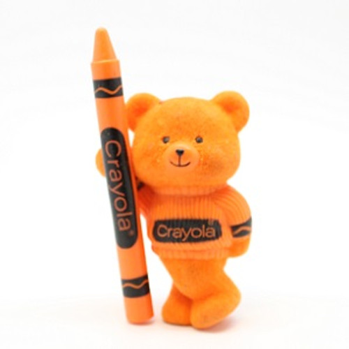 1987 Flocked Crayola Bear - Orange