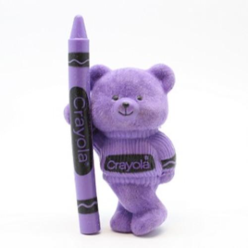 1987 Flocked Crayola Bear - Purple