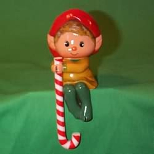 1984 Elf With Candy Cane - Stocking Hanger