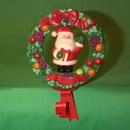 1982 Della Robia Wreath With Santa - Stocking Hanger