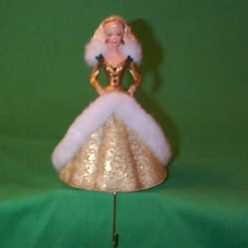 1995 Holiday Barbie - Gold Dress - Stocking Hanger