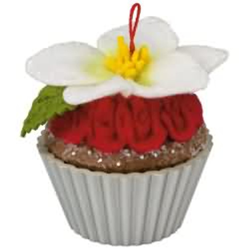 2017 Christmas Cupcakes #8 - Candied Christmas Rose Hallmark ornament - QX9422