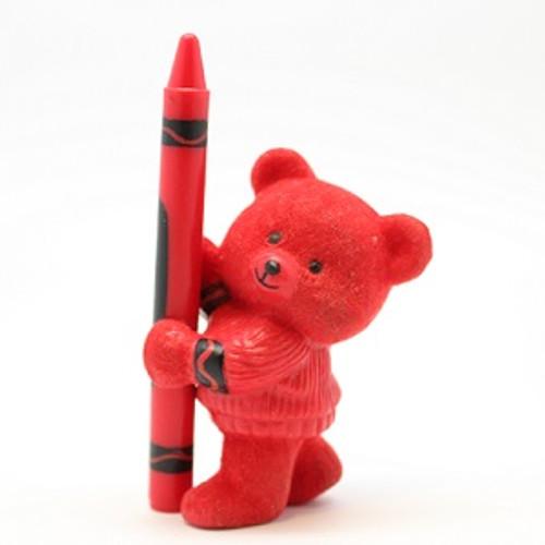 1987 Flocked Crayola Bear - Red