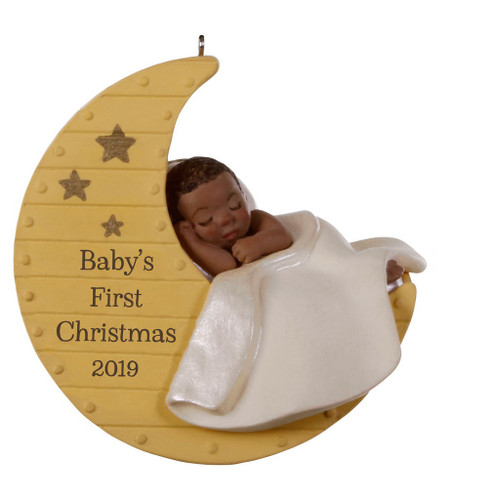2019 Baby's 1st Christmas - Moon - African American Hallmark ornament (QSM7807)