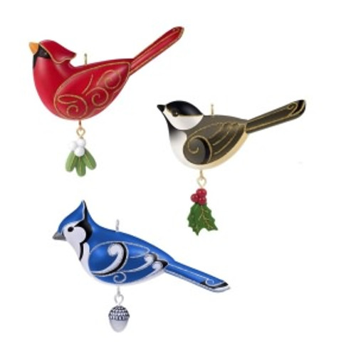 2019 Outdoor Bird Ornament Set - Set of 3 Hallmark ornament (QGO3387)