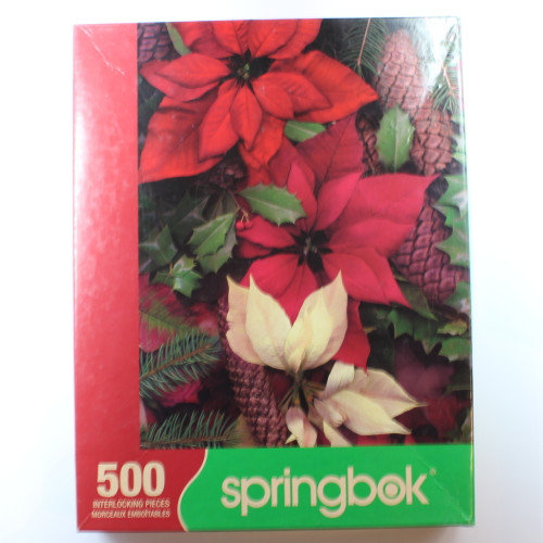 Poinsettias and Pinecones - 500 Pieces - Puzzle