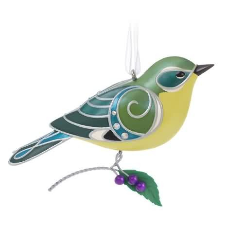 2020 Beauty of Birds - Lady Black Throated Blue Warbler Hallmark ornament (QXE3251)