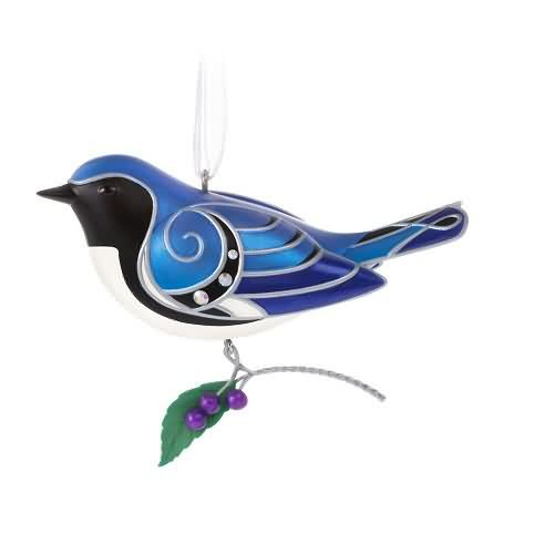 2020 Beauty of Birds #16 - Black Throated Blue Warbler Hallmark ornament (QXR9264)