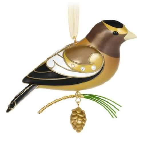 2021 Beauty of Birds #17 - Evening Grosbeak Hallmark ornament (QXR9172)