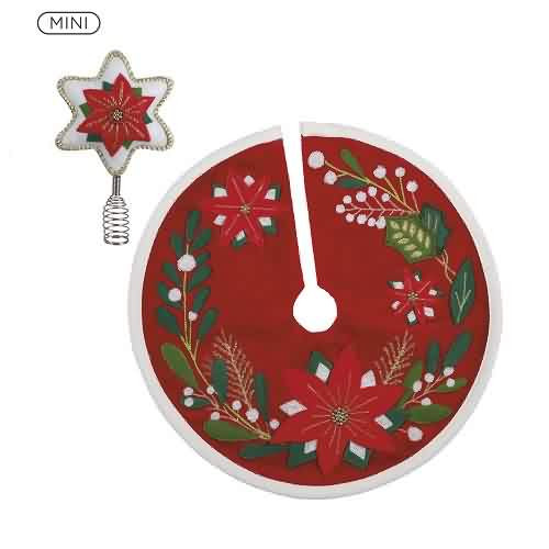 2021 Mini Tree Topper and Skirt - Poinsettia Hallmark ornament (QSB6175)