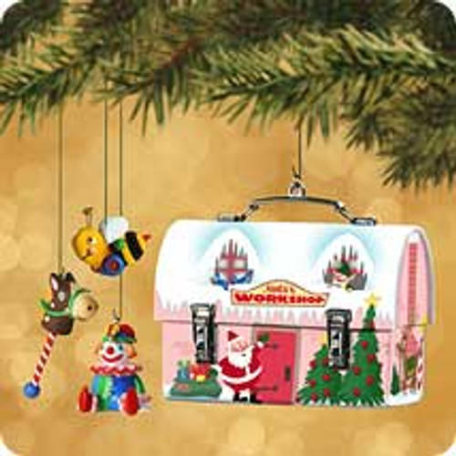 2002 Santa's Workshop Lunchbox Hallmark ornament