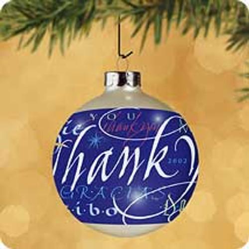 2002 Thank You Ball Hallmark ornament