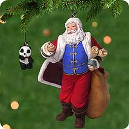 2001 Santa Claus with Panda Bear Hallmark ornament