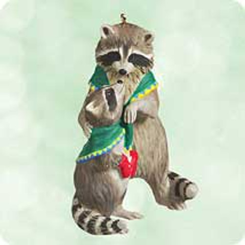 2003 Safe and Snug #3F - Raccoons Hallmark ornament