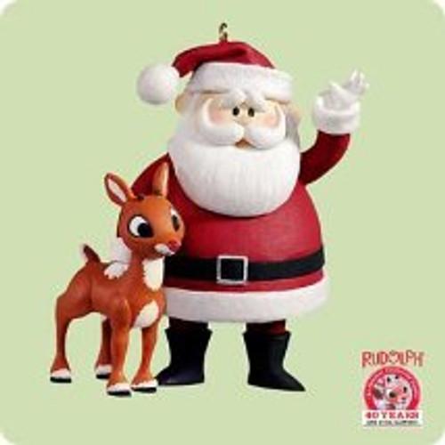 2004 Rudolph And Santa Hallmark ornament