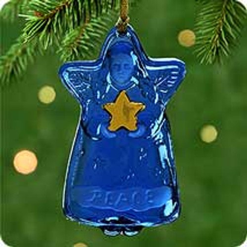 2000 Blue Glass Angel Hallmark Ornament