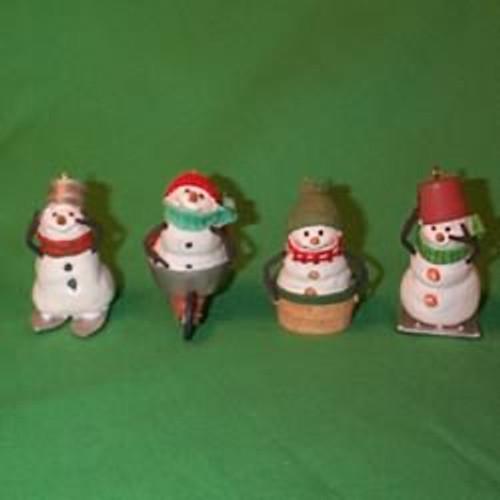 2000 Mitford Snowmen - Set Of 4 Hallmark Ornament