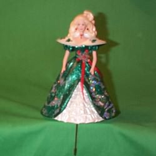 1996 Holiday Barbie Green - Stocking Hanger