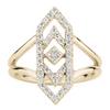 Gianna ChevronRing with Diamond in 14K Yellow Gold