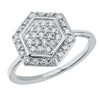 Hexagon Ring in 14K White Gold with Diamonds