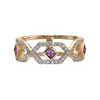 Gianna Chevron Half Eternity Band with Pink Sapphires in 14K Yellow Gold