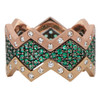 Lucia Pave Band in Black Rhodium Gold with Emeralds and Lucia Satin Bands