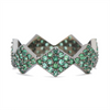 Lucia Full Pave Band in Black Rhodium Gold with Emeralds