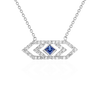 Gianna chevron medium pendant with blue sapphire