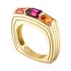 Portofino 3 Stone Ring with Grape Garnet and Orange Sapphire