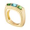 Portofino 3 Stone Ring with Blue Zircon and Tsavorite Garnet