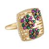 Portofino Flower Garden Ring with Emeralds, Sapphires and Diamonds
