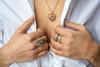 Portofino Retro 3D Heart Pendant with Emerald, Sapphires and Diamonds